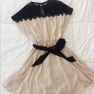 ASOS Black Lace Nude Mini Dress